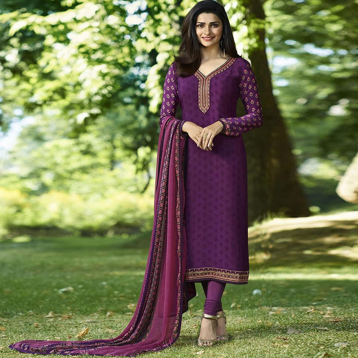 Perfect Purple Colored Partywear Embroidered Crepe Suit