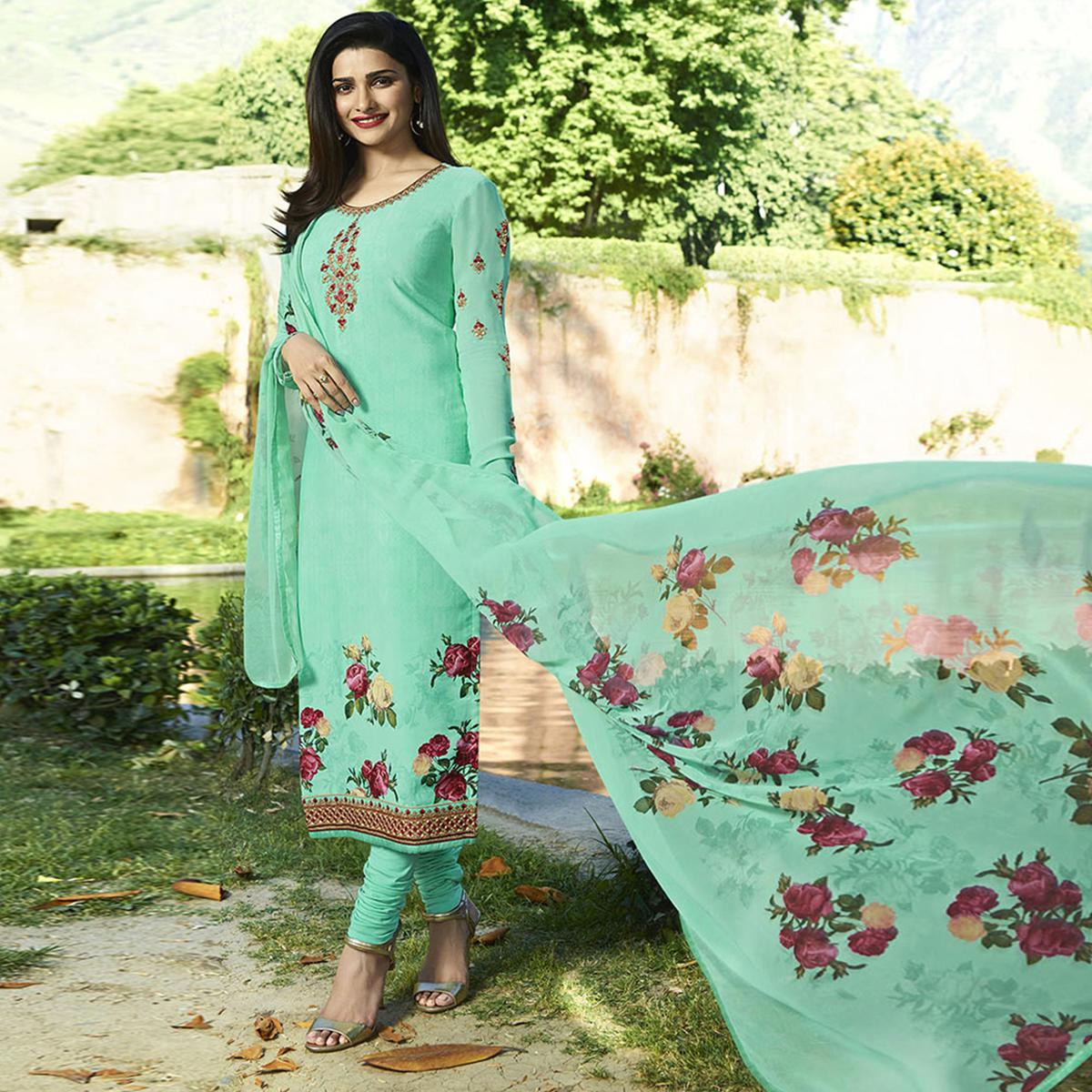 Refreshing Aqua Blue Colored Partywear Embroidered Crepe Suit
