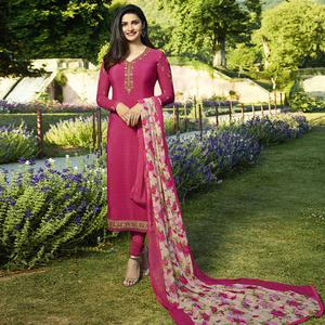 Pretty Pink Colored Partywear Embroidered Crepe Suit