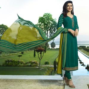 Beautiful Green Colored Partywear Embroidered Crepe Suit