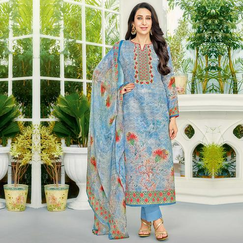 Desirable Blue Colored Party Wear Printed Cotton Dress Material