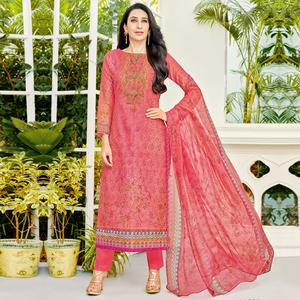 Demanding Pink Colored Party Wear Printed Cotton Dress Material