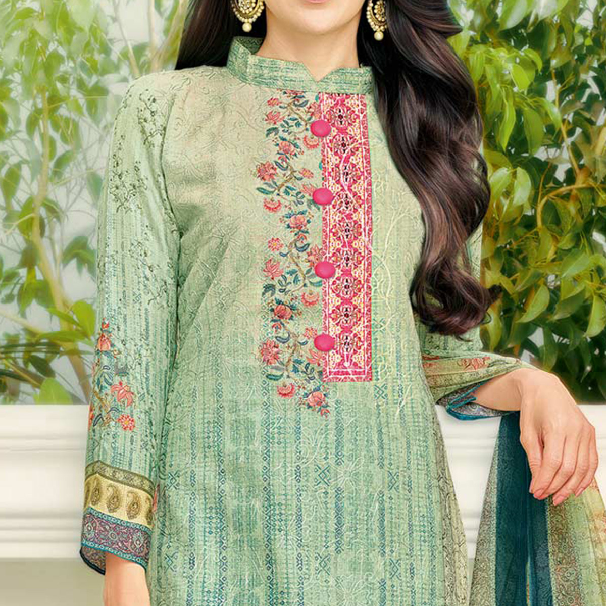 Pleasant Pista Green Colored Party Wear Printed Cotton Dress Material