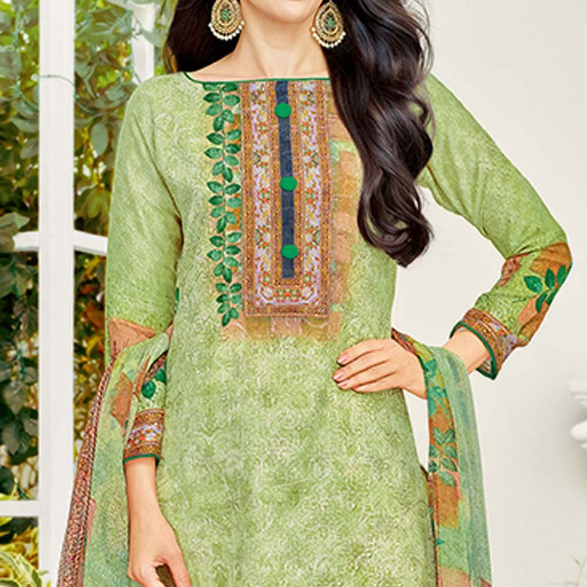 Elegant Light Olive Green Colored Party Wear Printed Cotton Dress Material