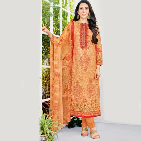 Alluring Orange Colored Party Wear Printed Cotton Dress Material