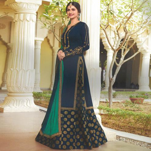 Mesmerising Navy Blue Colored Party Wear Embroidered Georgette Satin Lehenga Kameez