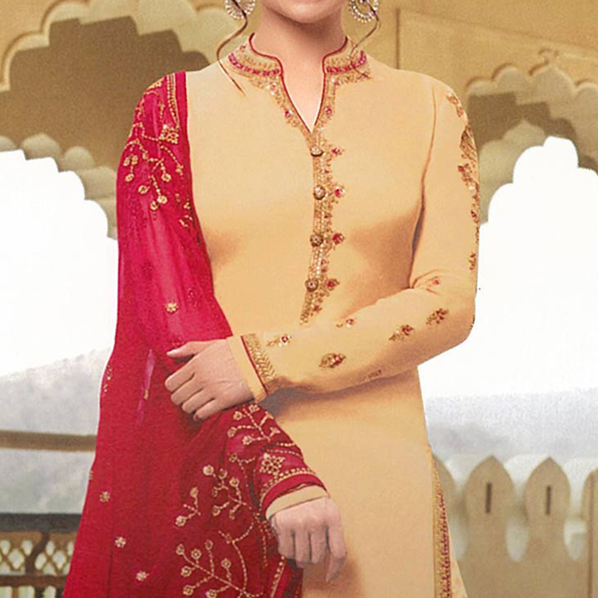 Ravishing Beige Colored Party Wear Embroidered Georgette Satin Lehenga Kameez