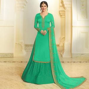 Eye-catching Sea Green Colored Party Wear Embroidered Georgette Satin Lehenga Kameez
