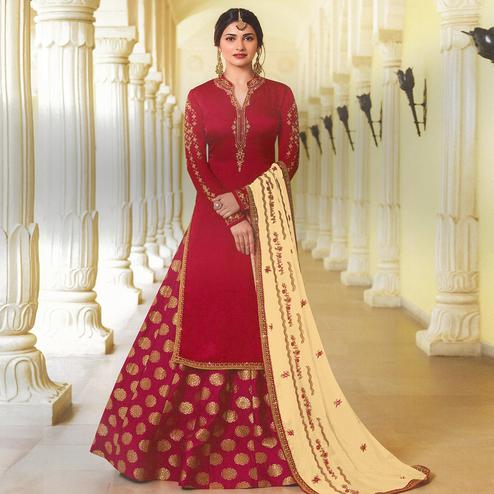 Amazing Red Colored Party Wear Embroidered Georgette Satin Lehenga Kameez