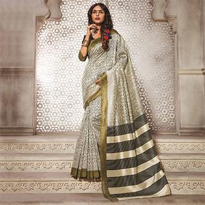 Cream - Olive Green Digital Printed Bhagalpuri Saree