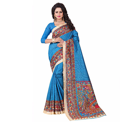 Blue Casual Printed Bhagalpuri Silk Saree