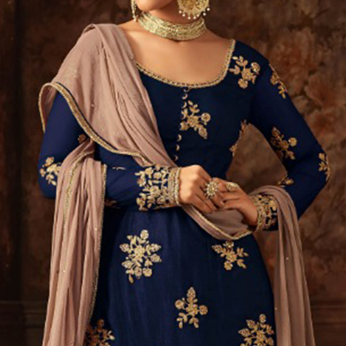 Blissful Navy Blue Colored Party Wear Embroidered Net Palazzo Suit