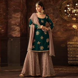Staring Green Colored Party Wear Embroidered Net Palazzo Suit