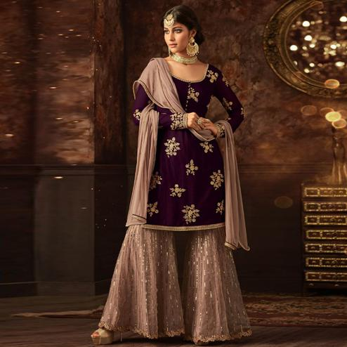 Engrossing Purple Colored Party Wear Embroidered Soft Net Palazzo Suit