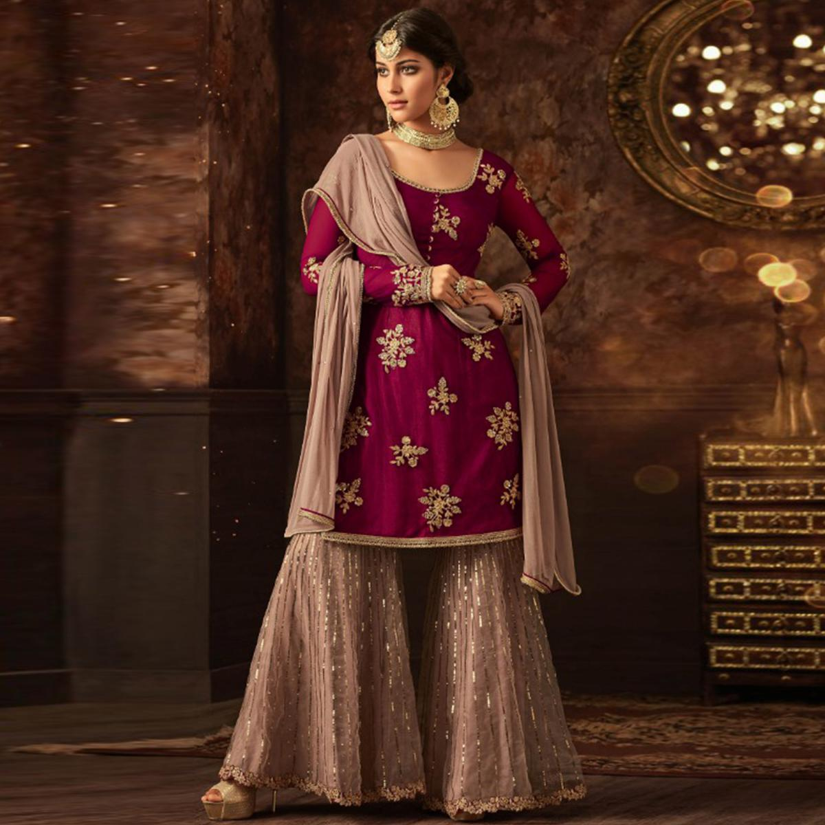 Innovative Pink Colored Party Wear Embroidered Net Palazzo Suit
