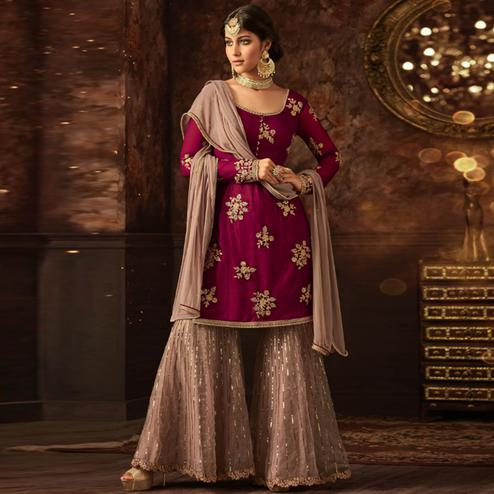 Innovative Maroon Colored Party Wear Embroidered Soft Net Palazzo Suit
