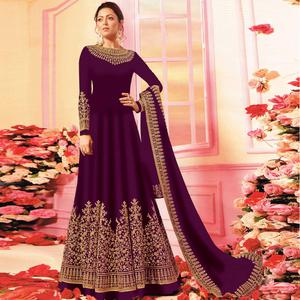 Desirable Purple Colored Embroidered Party Wear Georgette Anarkali Suit