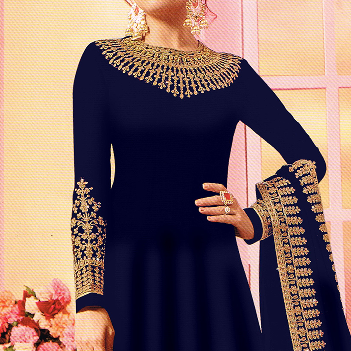 Pleasant Navy Blue Colored Embroidered Party Wear Georgette Anarkali Suit