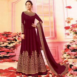 Unique Maroon Colored Embroidered Party Wear Georgette Anarkali Suit