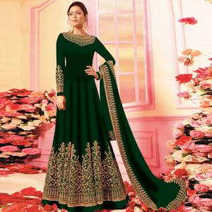 Refreshing Green Colored Embroidered Party Wear Georgette Anarkali Suit