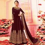 Elegant Brown Colored Embroidered Party Wear Georgette Anarkali Suit