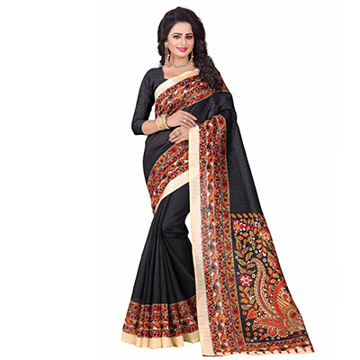 Black Casual Printed Bhagalpuri Silk Saree