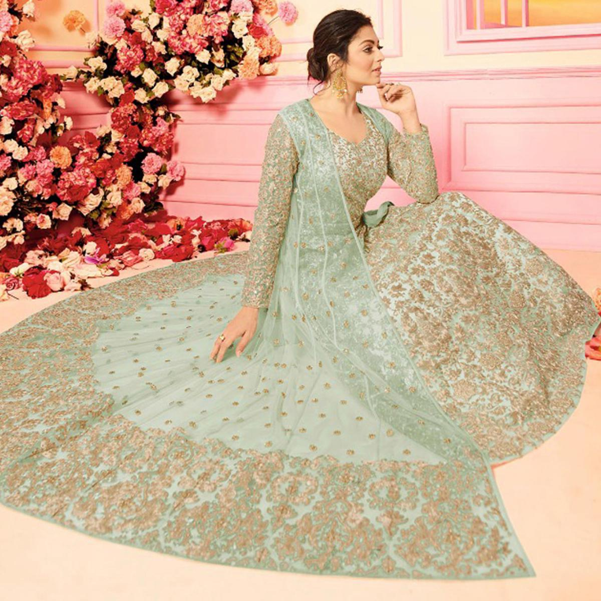 Alluring Green Colored Embroidered Party Wear Georgette Anarkali Suit