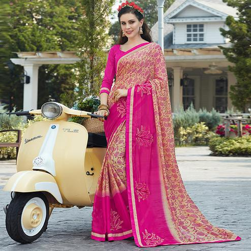 Beautiful Cream-Pink Colored Casual Wear Printed Chiffon Saree