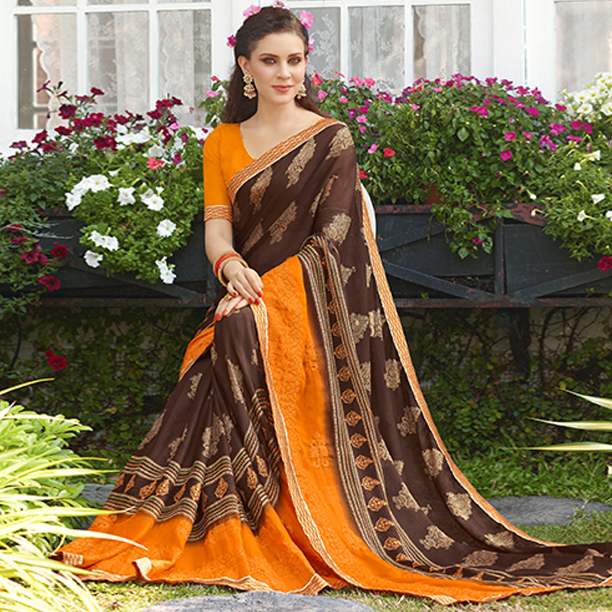 Gorgeous Brown-Orange Colored Casual Wear Printed Chiffon Saree