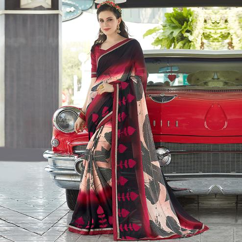 Glorious Multicolored Casual Wear Printed Chiffon Saree