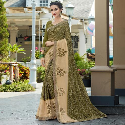 Graceful olive Green-Beige Colored Casual Wear Printed Chiffon Saree