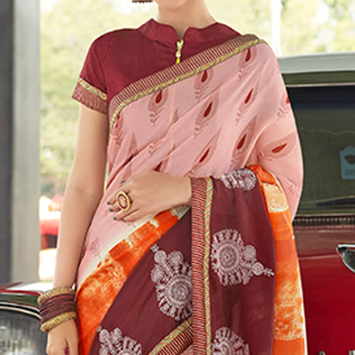 Charming Pink Colored Casual Wear Printed Chiffon Saree