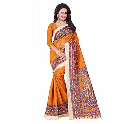 Yellow Casual Printed Bhagalpuri Silk Saree