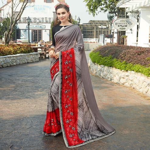 Amazing Grey Colored Casual Wear Printed Chiffon Saree
