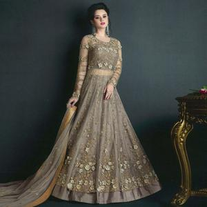 Arresting Gray Colored Partywear Embroidered Net Lehenga Kameez