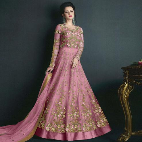 Charming Pink Colored Partywear Embroidered Net Lehenga Kameez