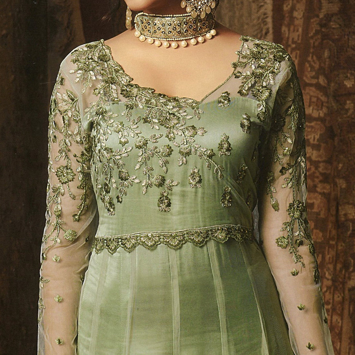 Intricate Green Colored Embroidered Soft Net Abaya Style Anarkali Suit