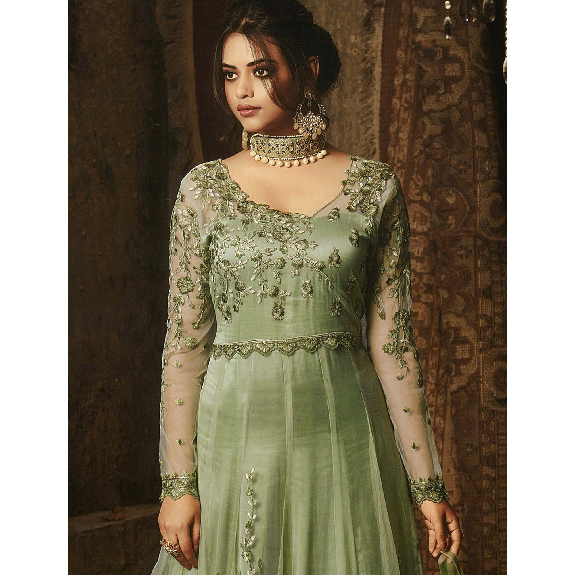 Intricate Green Colored Embroidered Net Abaya Style Anarkali Suit