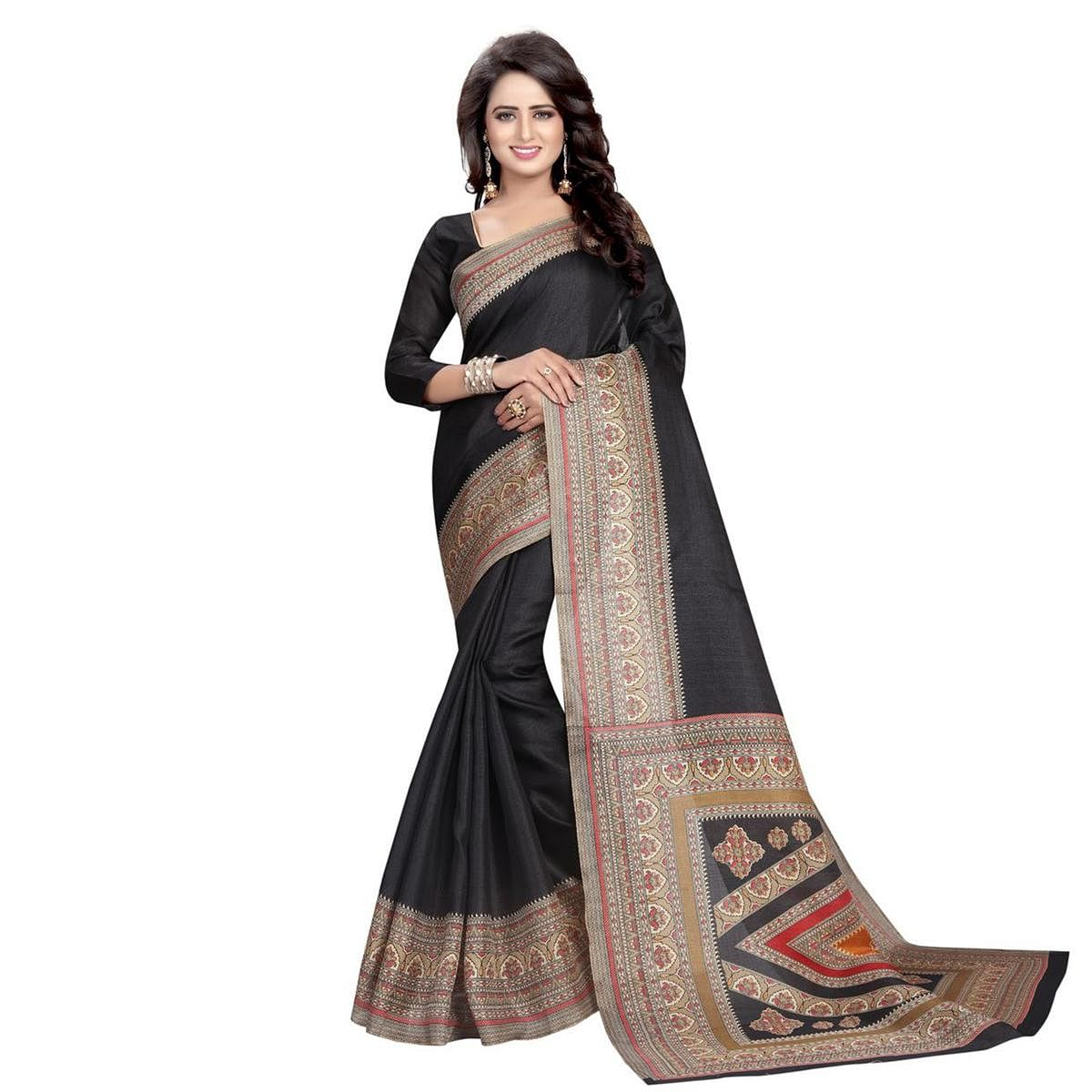 Stunning Black Casual Printed Bhagalpuri Silk Saree