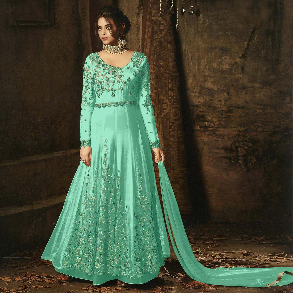 Refreshing Turquoise Green  Colored Embroidered Net Abaya Style Anarkali Suit
