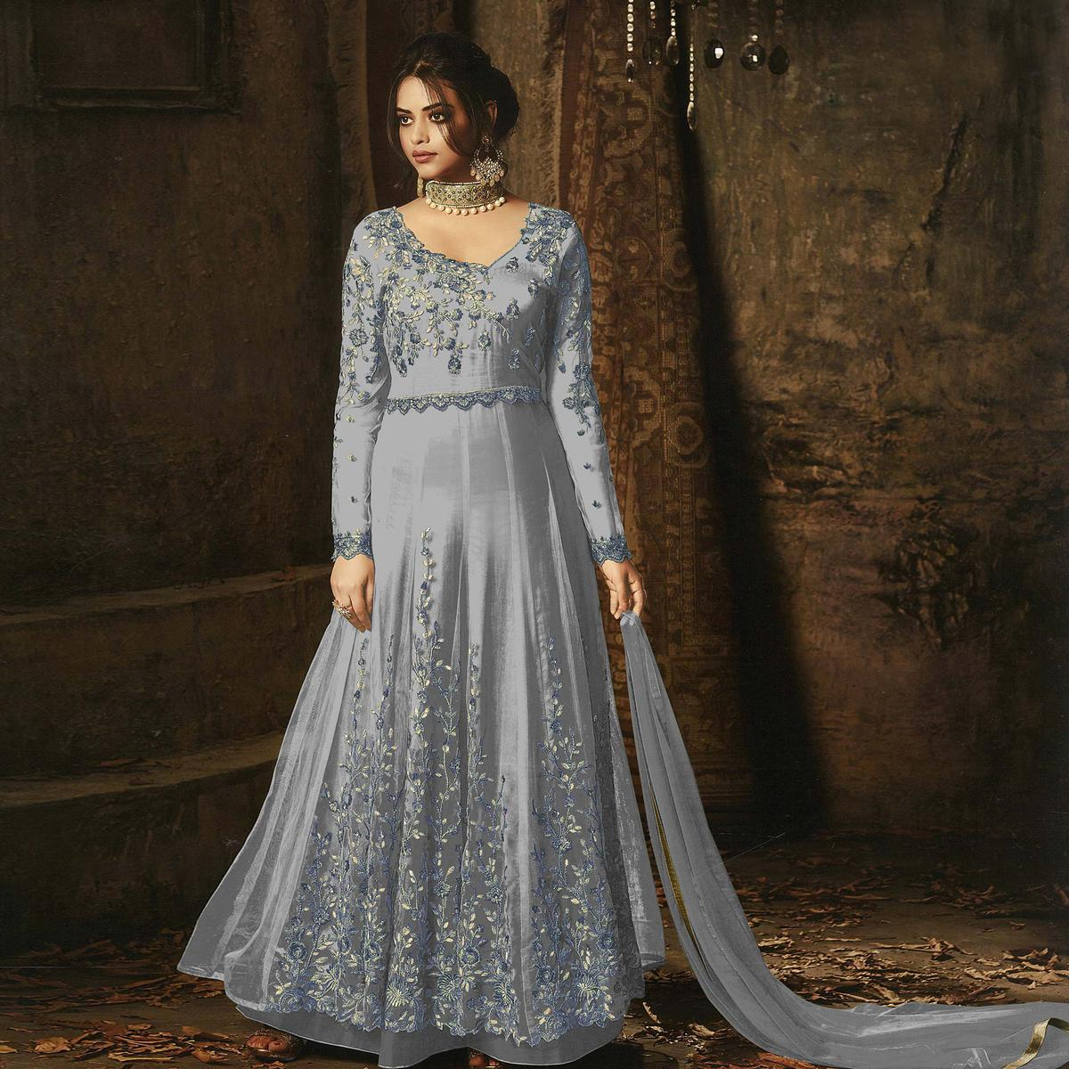 Elegant Grey Colored Embroidered Net Abaya Style Anarkali Suit