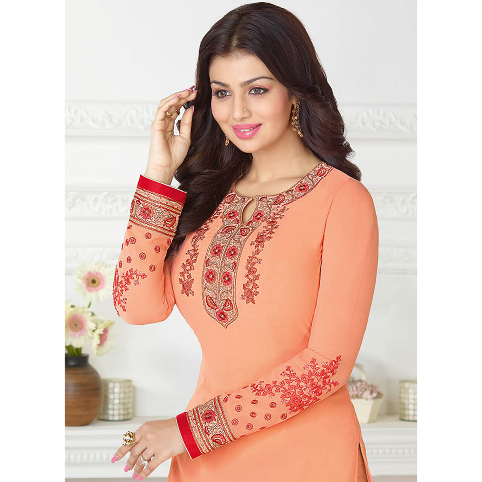 Alluring Light Orange Colored Embroidered Party Wear Georgette Suit