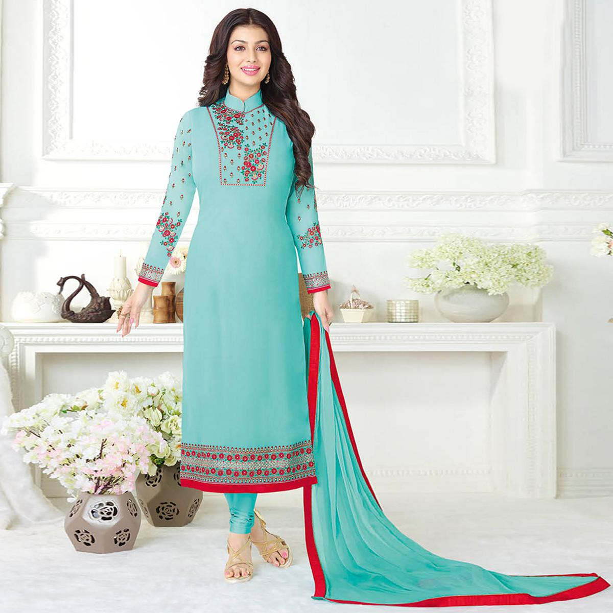 Gorgeous Aqua Blue Colored Embroidered Party Wear Georgette Suit