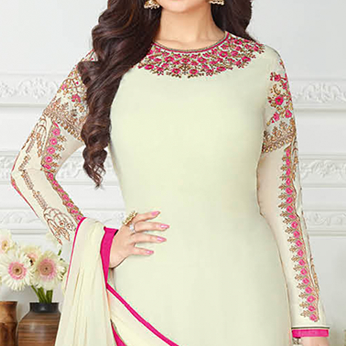 Stunning Cream Colored Embroidered Party Wear Georgette Suit