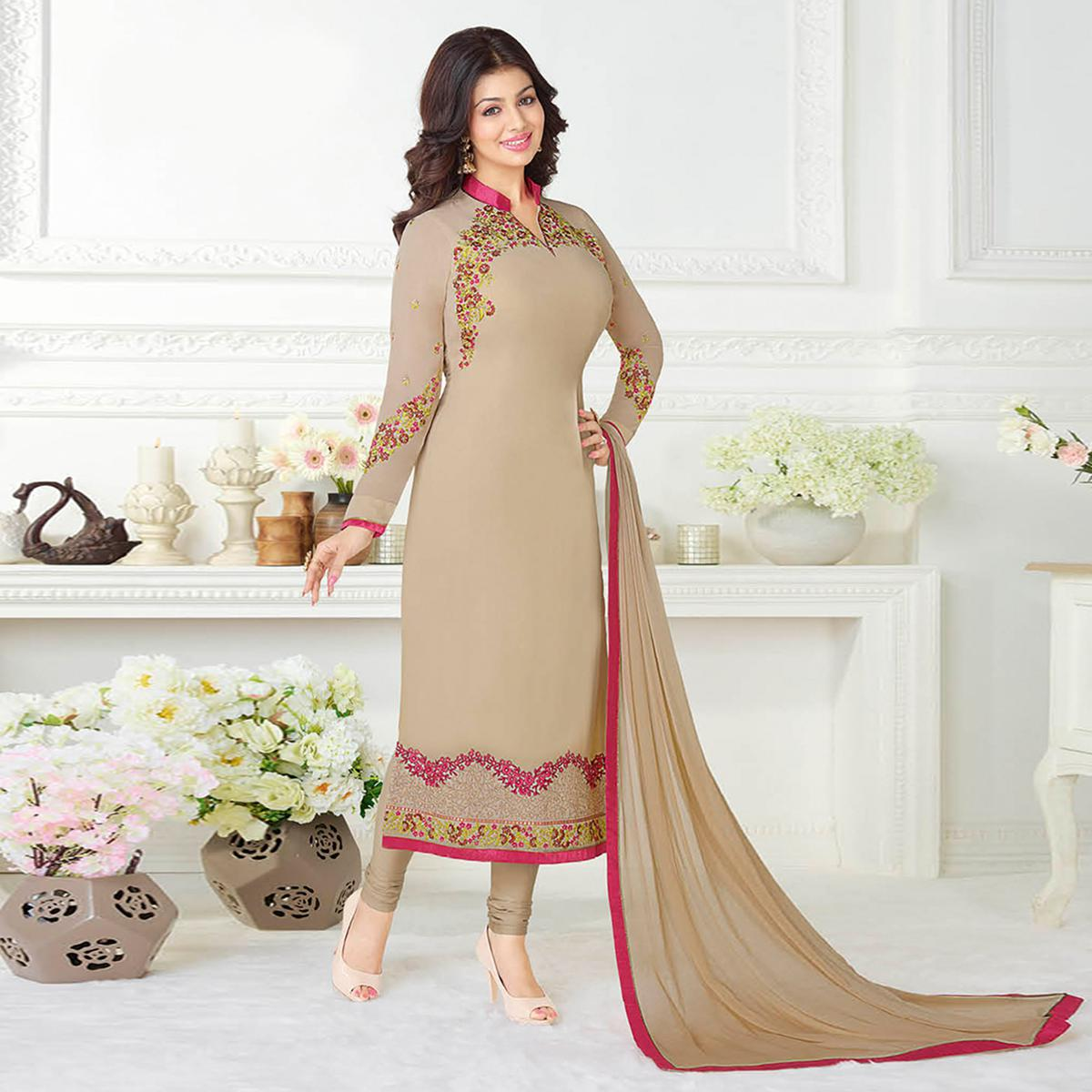 Elegant Chikoo Colored Embroidered Party Wear Georgette Suit