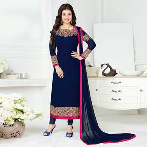 Beautiful Navy Blue Colored Embroidered Party Wear Georgette Suit