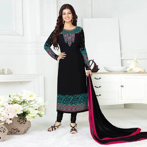 Sizzling Black Colored Embroidered Party Wear Georgette Suit