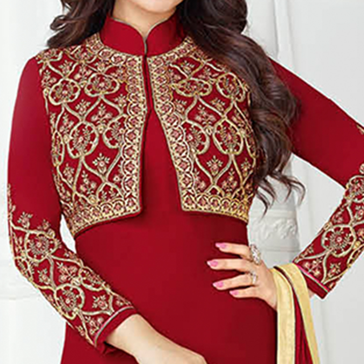 Attractive Red Colored Embroidered Party Wear Georgette Suit