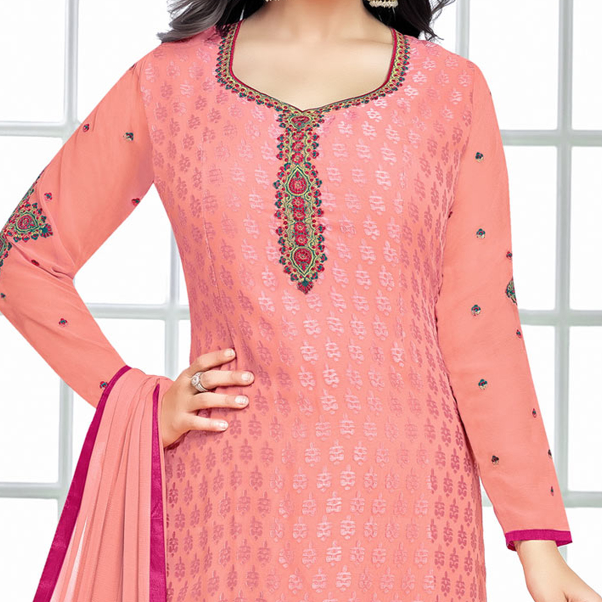 Attractive Light Pink Floral Embroidered Straight Cut Brasso Suit