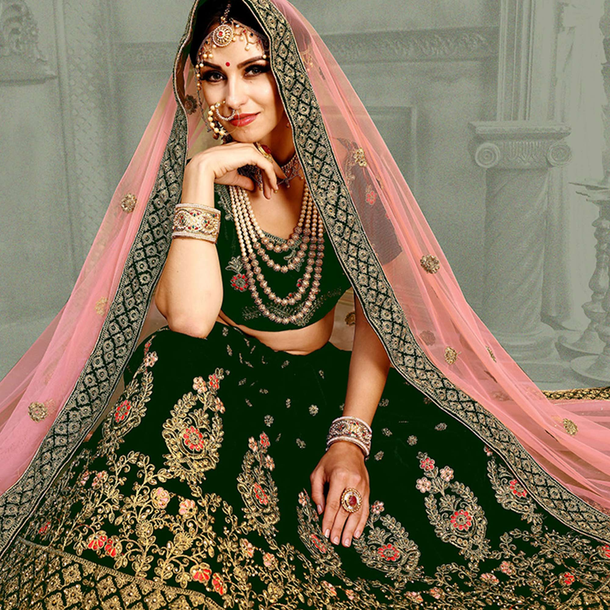 Adorable Dark Green Colored Wedding Wear Embroidered Velvet Lehenga Choli